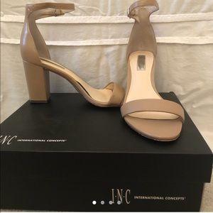 """3"""" INC open toe heels,ankle strap, in Dark Almond"""